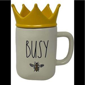 "🆕RAE DUNN ""BUSY BEE"" MUG W/YELLOW CROWN TOPPER"